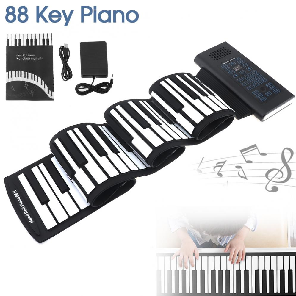 88 Keys USB MIDI Output Roll Up Rechargeable Electronic Silicone Flexible  Keyboard Organ Built-in Speaker with Sustain Pedal - aliexpress com
