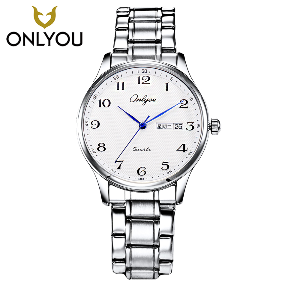 ONLYOU Fashion Math Casual Quartz Men Watch Stainless Steel Band Waterproof Women Gold Watch for Boys Girl Week Display Calendar stainless steel watch metal band quartz watch for men longbo 8833