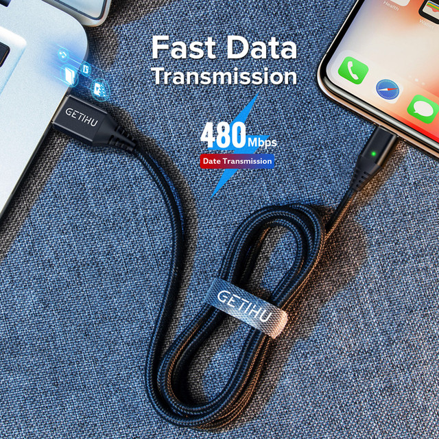 GETIHU 2.4A Quick Charger 3.0 Magnetic Cable For iPhone XS XR X 7 6 Fast Micro USB Type C Magnet Type-C Phone Cable For Samsung