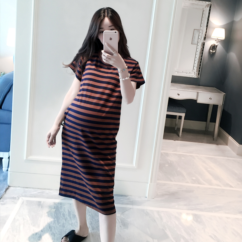 Summer Pregnancy Clothing Maternity Dress Short-sleeved Casual Pregnant Dresses Striped Dress Plus Size