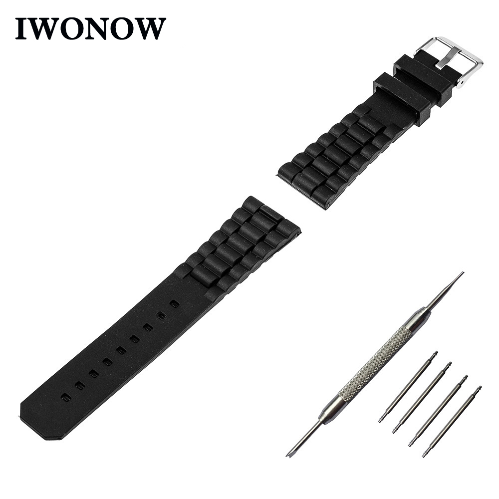 Silicone Rubber Watch Band 20mm for Ticwatch 2 42mm Stainless Steel Pin Buckle Strap Wrist Belt Bracelet + Spring Bar + Tool