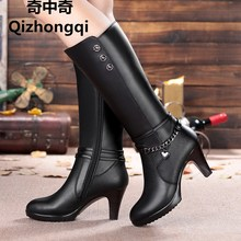 hot deal buy woman boots, high-heeled 2016 genuine leather motorcycle boots thick wool warm winter boots female fashion long-barreled