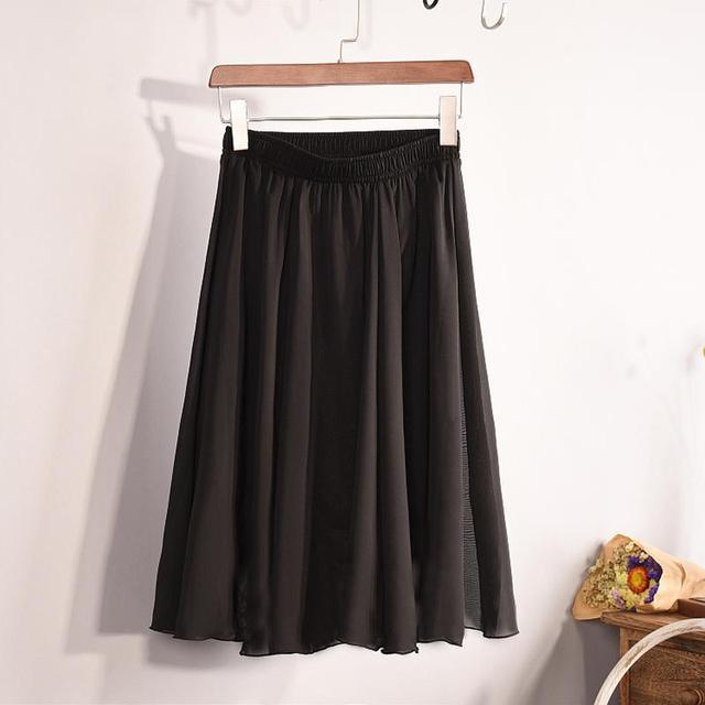 New Fashion Women's 23 Color High Waist Chiffon Skirt 2018 Summer Ladies Casual Slim Beach Pleated Skater Midi Skirts Saia SK17 5