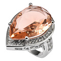Huge Morganite With Multi White Simulated Sapphire 925 Sterling Silver Ring Factory price For Women Size 6 7 8 9 10 11 F1500