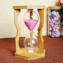Exquisite Craft Hexagonal Bamboo Sandglass Timekeeping 15/10/5 Minutes Wooden Hourglass Timer Clocks For Home Office Decoration