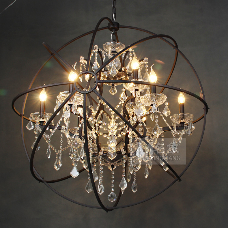 Loft american country nordic retro neo classical european iron loft american country nordic retro neo classical european iron spherical crystal chandelier armillary gyroscope in pendant lights from lights lighting on mozeypictures Images