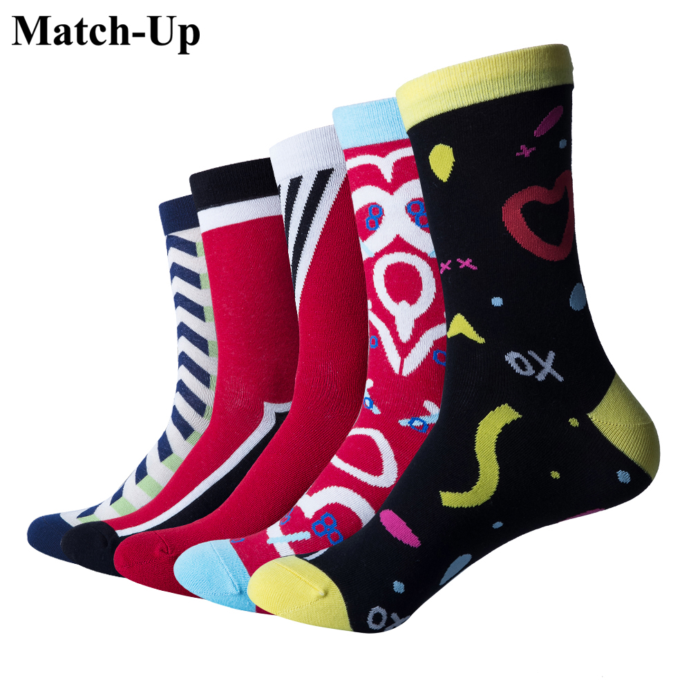 Amicable Match-up Colorful Funny Mens Socks Wedding Gift Socks Fashionable And Attractive Packages 5 Pairs/lot