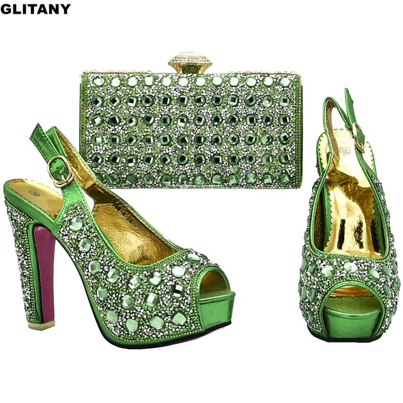 Con púrpura Zapatos De 2019 Boda Nigeriano Azul Y Imitación Decorados green Diamantes Africano Conjunto Mujer Bolsos Diseño oro Para Moderno fxAHOwwqg
