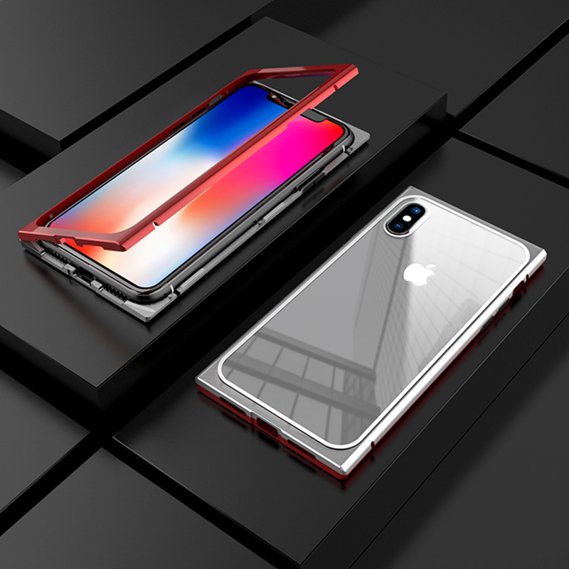 Luxury Square Magnetic Adsorption Case For iPhone X Case 2 in 1 Tempered Glass Cover Metal Frame For iPhone 7 8 plus 7Plus Funda (5)