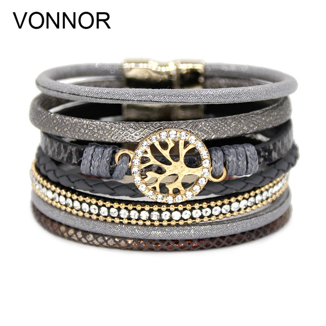 VONNOR Jewelry Bracelets for Women Multi-layer Leather Rope Rhinestone Alloy Accessories Magnet Clasp Bangle Bracelete Feminino
