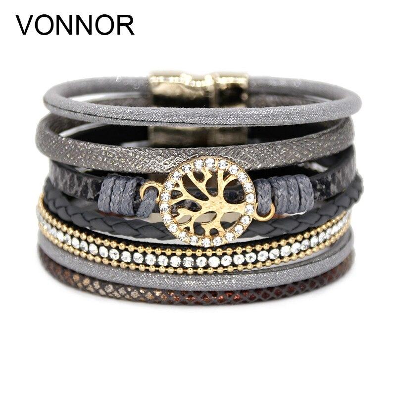 c4d25310ee6c Pulseras de joyería de VONNOR para mujeres Multi-capa de cuero de la cuerda  de aleación de diamantes de imitación accesorios de cierre de imán pulsera  ...