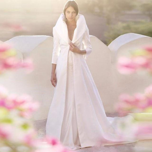 envío gratis manga larga de raso de novia del cabo de boda imponente