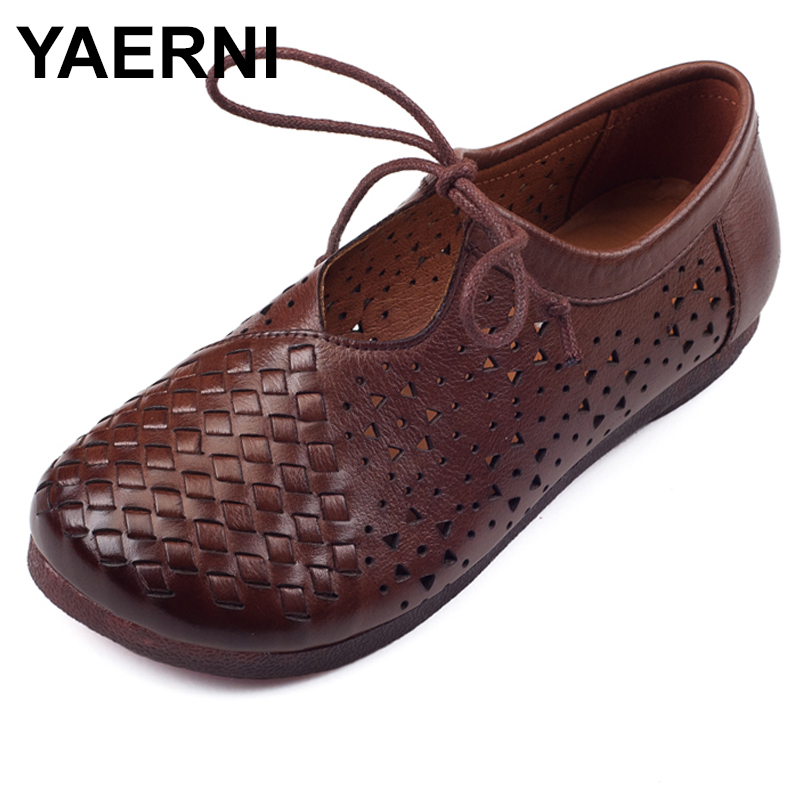 YAERNI Women Sandals Retro manual weaving Breathable flat shoes woman Hollow Out Gladiator Sandals Lace Up flat Summer Shoes lcx 2017 summer pvc hollow out sandals glitter flat stock the bird nest hole wholesale or retail