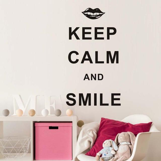 Funny English Letters Vinyl Decal Keep Calm And Smile Quotes Wall