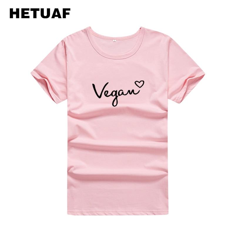 HETUAF Vegan Love Harajuku Graphic Tees Women Fashion Vegetarian T Shirts Women 2018 Summer Korean Print Cotton Woman Tshirt Top