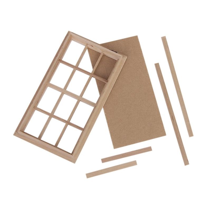 Cadre de fenêtre en bois traditionnel à 12 carreaux 1:12 échelle maison de poupée Miniature design traditionnel
