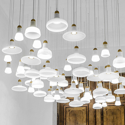 Modern LED White Glass Chandeliers Lights Fixture Nordic White Shadow  Single Droplight Home Indoor Dining Room