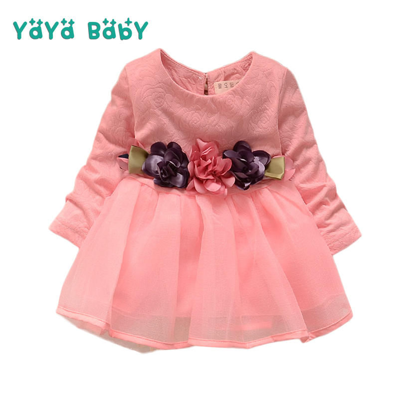Flower Baby Dress Long Sleeve Newborn Children Princess Dresses 2018 New O-neck Mesh Baby Girls Clothes Infant Costume