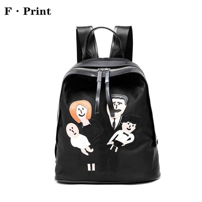 Cartoon Printed Fashion Women Backpack Lovely Korean Style Student Bag Durable Oxford Women s Shoulder Bag