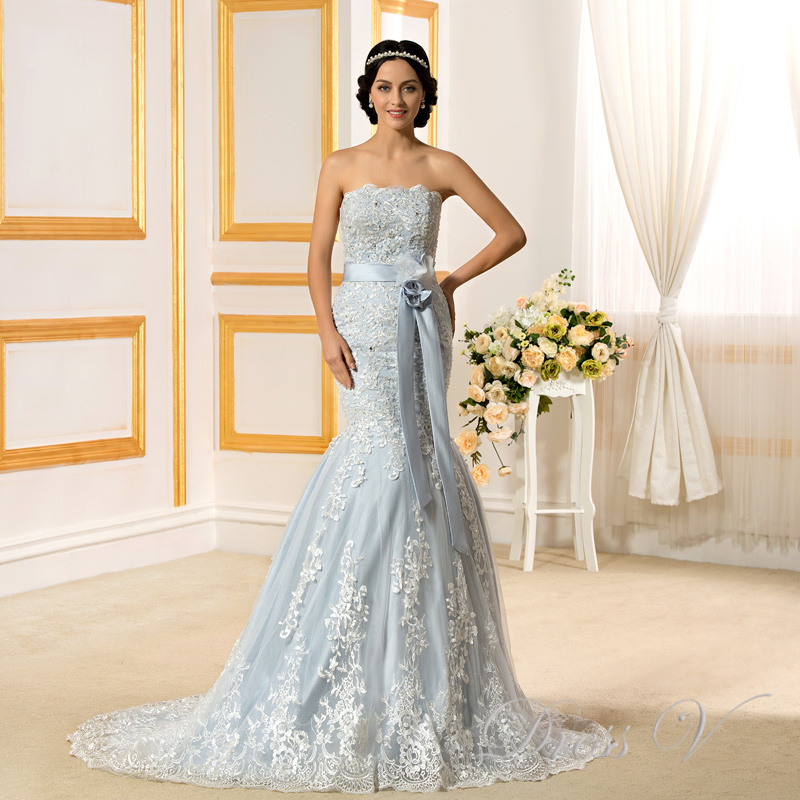 ᐂ2017 Romantic Light Blue Mermaid Wedding Dresses Lace Strapless ...