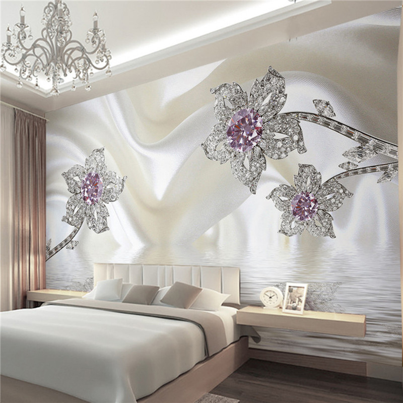 Brand new Wall Panel Wallpaper Marble Diamond Jewelry Rose Background Modern  ZM18