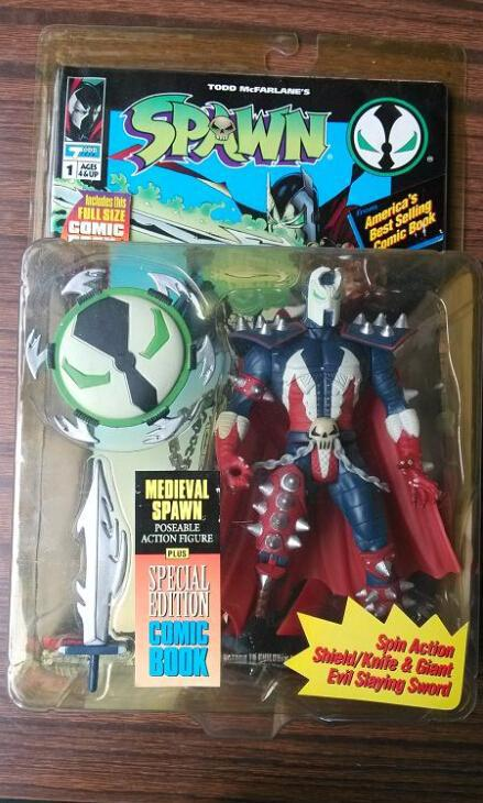 Red Cloak Spin Action Shield font b Knife b font Giant Special Edition Spawn Comic Book
