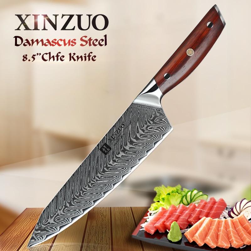 Ev ve Bahçe'ten Mutfak Bıçakları'de XINZUO 8.5 inç şef bıçağı Japon VG10 Şam Mutfak Bıçakları Paslanmaz Çelik Dilimleme Et mutfak bıçağı Gülağacı Kolu'da  Grup 1