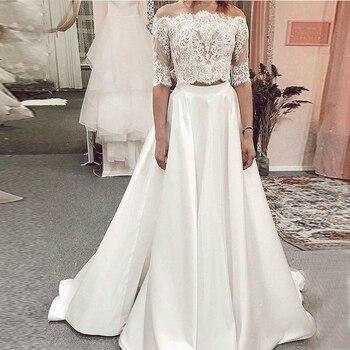 Two Piece Half Sleeves Wedding Dresses 2019 Lace Top Satin Skirt Wedding Gowns Sweep Train New Vestido De Novia