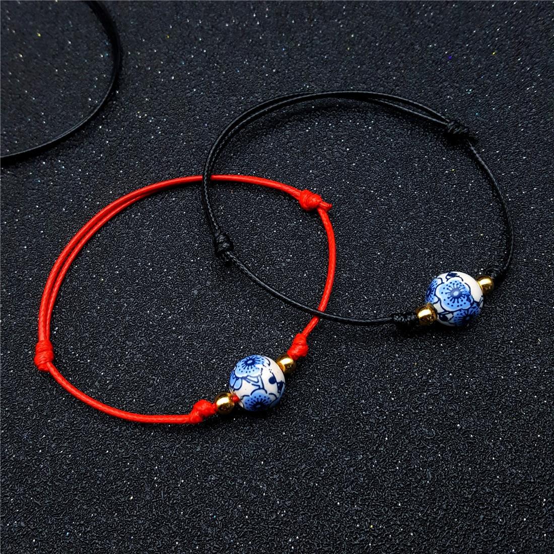Chinese Ceramics Beads Bracelet & Bangle For Women man couple Adjustable black/red rope Charm Ethnic hand Jewelry lover Gift men beaded bracelet red