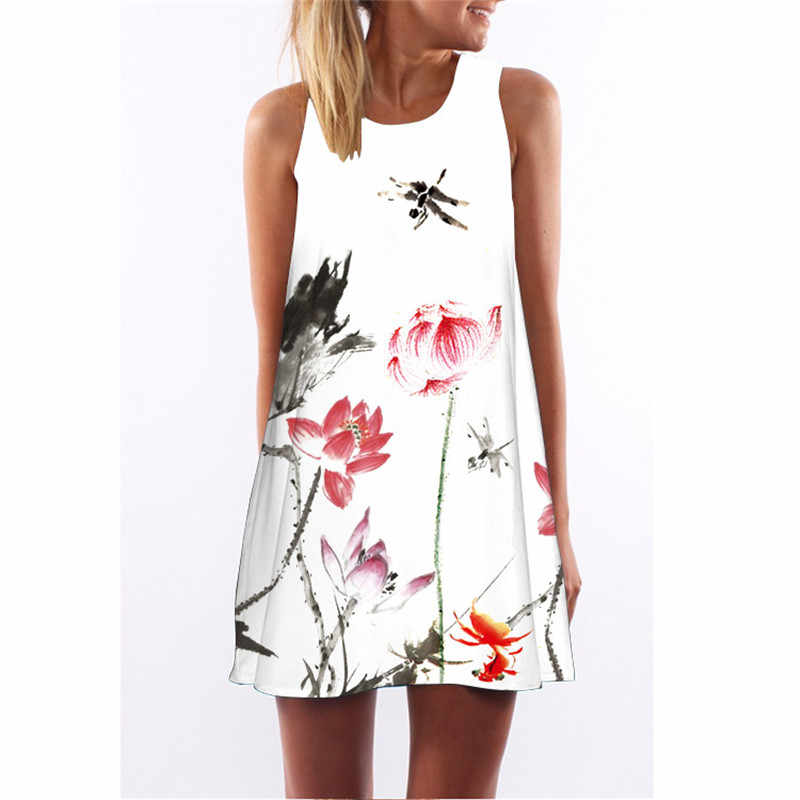 New Chinese Style Women Dress 3d Dragonfly and Lotus Print Polyester High  Waist Tank Dress Casual 61f155c126f7