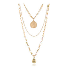 New 2019 European and American jewelry Big geometric ball gold coin necklace Personalized multi-layer tassel three-layer necklac(China)