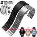 Alta calidad 20mm 22mm 23mm pulsera de acero inoxidable para samsung uesd para moto 360 y ticwatch s2 en la venda de reloj de engranajes correa de reloj