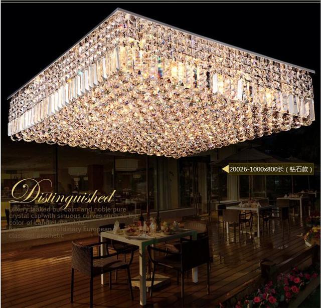 US $385.05 49% OFF|Moderne luxus led deckenleuchte rechteckigen wohnzimmer  K9 kristall lampe restaurant leuchten führte leuchte lampen in Moderne ...