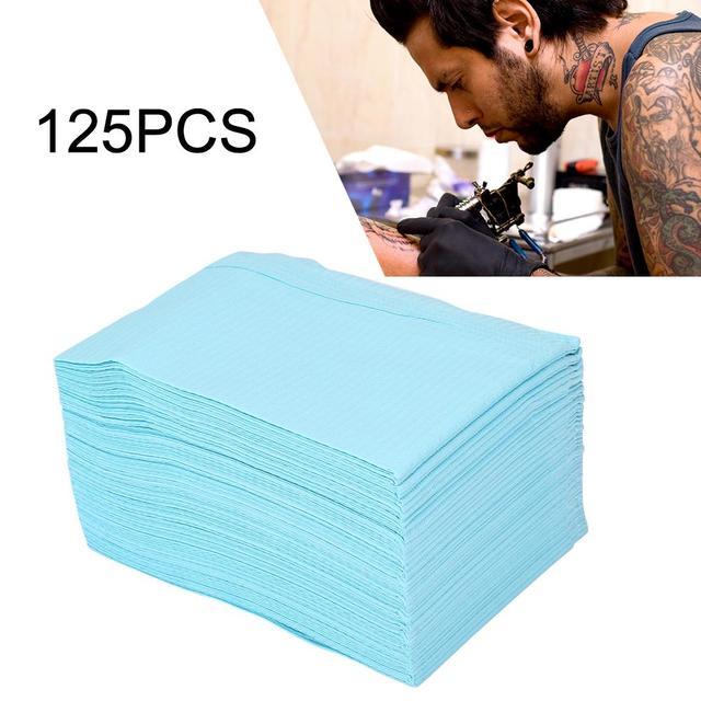 125 Vellen Wegwerp Tattoo Mat Tattoo Handdoek Waterdicht Double Layer Papier Tattoo Accessoires Beauty Body Art Supplies
