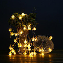 LED Solar Lamp Fairy String Lights 30LED Outdoor bubble Blossom Decorative Garden Patio Christmas Trees Wedding Party Waterproof(China)