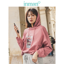 INMAN 2019 Autumn New Arrival 100%Cotton Hoodie Casual Fashion Print Drop-shoulder Sleeve Loose Women Sweater semir sweater women spring and autumn 2019 thin section loose hooded drop shoulder sleeve print chic hoodie cec sweater cover