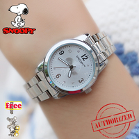 SNOOPY Modern Fashion rhinstone Quartz Watch Women girl Stainless Steel Watchband High Quality Casual Wristwatch Gift for Female