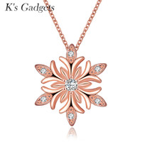K S Gadgets New Year Christmas Gift Silver Plated Snowflake Necklace Pendants Snow Flower Chain Necklace