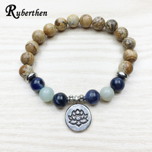 Ruberthen Fashion Bracelet for Women Picture Brown Stone Yoga Bracelet Wrist Mala Beads Bracelet Lotus Bracelet Design Jewelry