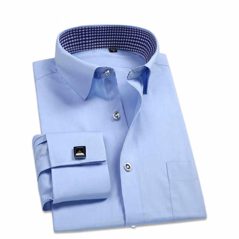 Męskie koszule z długimi rękawami luźna skośna jednokolorowa  B7l7M