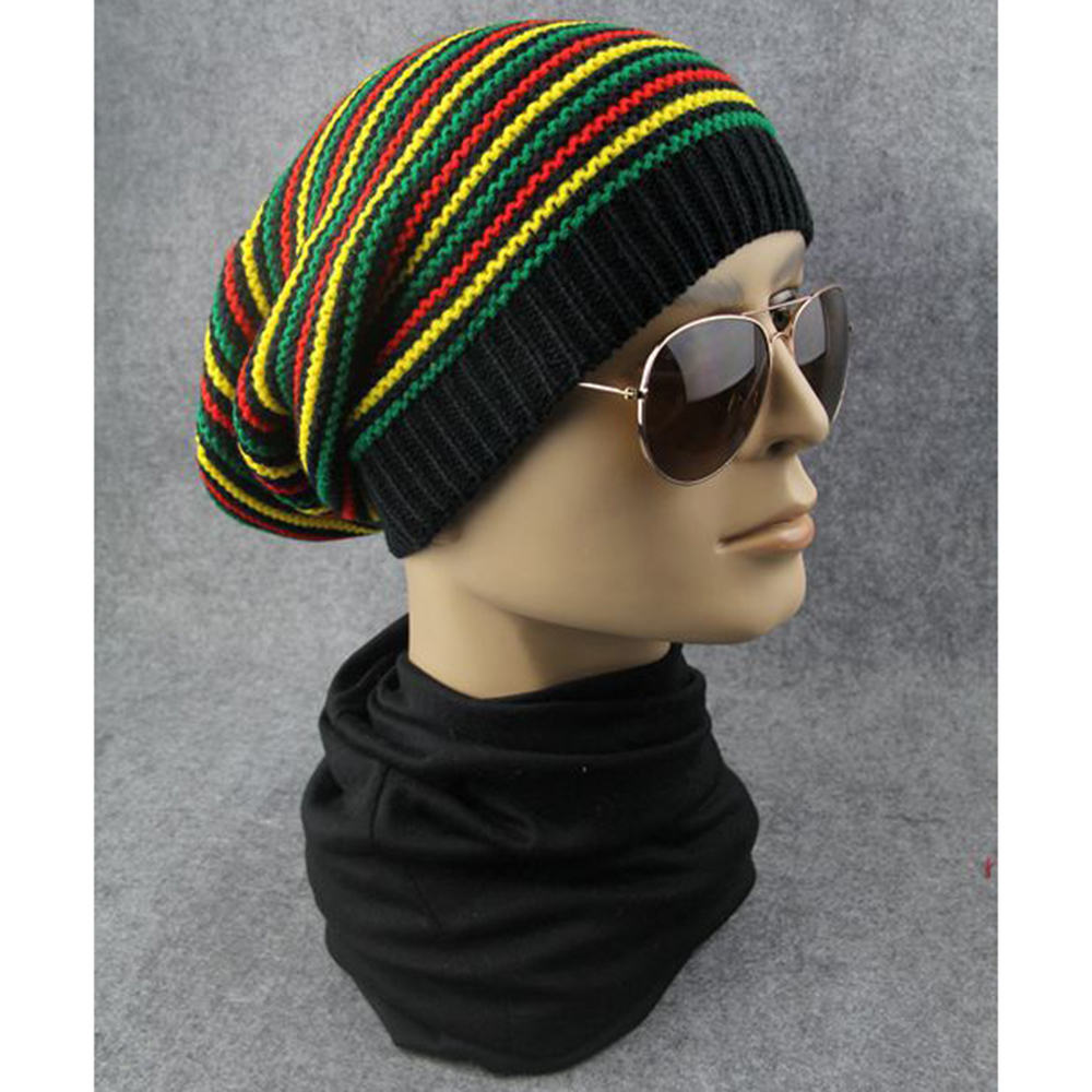 New Bob Marley Reggae Hat Jamaican Singer Pom Slouch Baggy   Beanie   Stripe Brim Cap Colorful Style for 2019 Spring Random Color