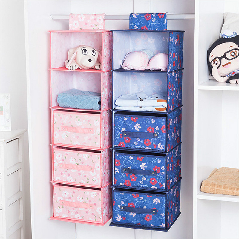 Multi-layer Hanging Storage Bags Wall Mounted Wardrobe Hang Bag  Drawer Folding Wall Pouch Clothes Toys Diaper Caddy Organizer