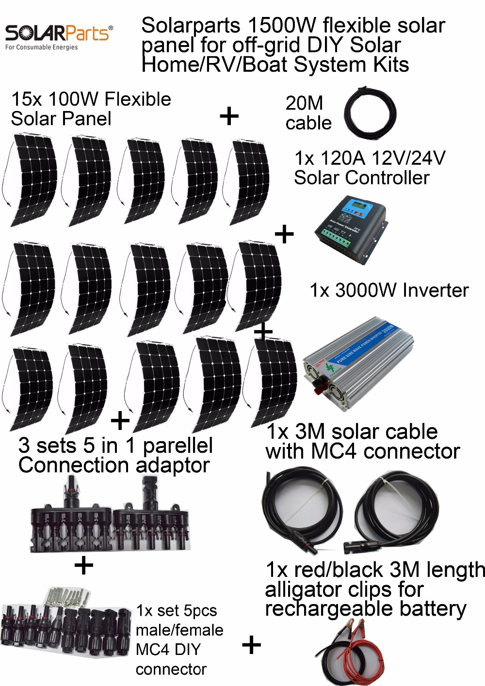 Solarparts 1500W off-grid Solar System KITS flexible solar panel +controller+inverter+cable+adaptor for RV/Marine/Camping/Home . solarparts 100w diy rv marine kits solar system1x100w flexible solar panel 12v 1 x10a 12v 24v solar controller set cables cheap
