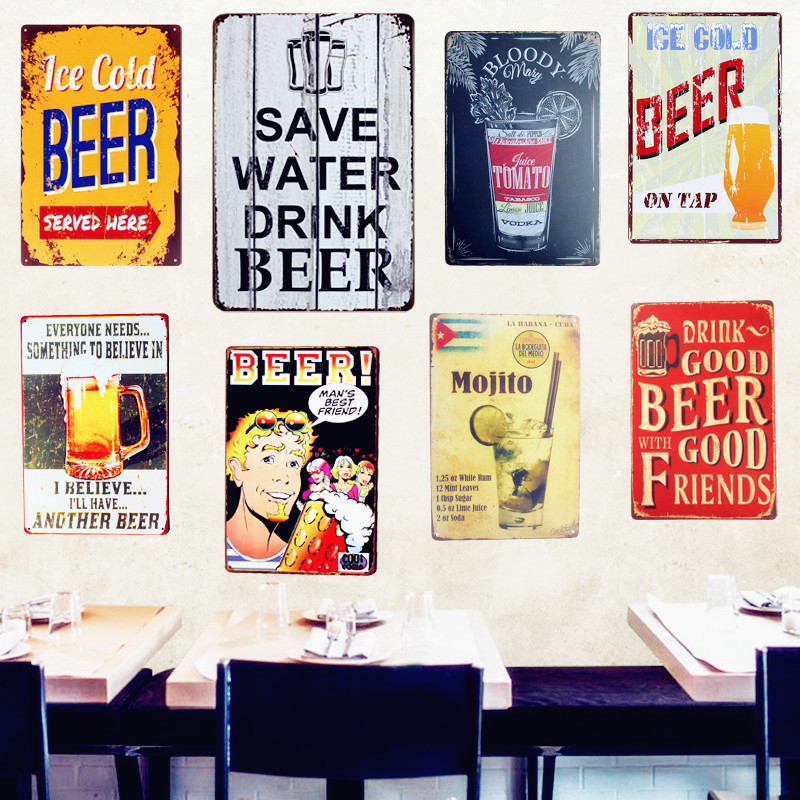 SPAR WATER DRINK BØRE Blikskilt Vintage Metal Plakat Dekorativ BAR Metal Plate Plaques Wall Sticker Iron Painting Mix Bestil A641
