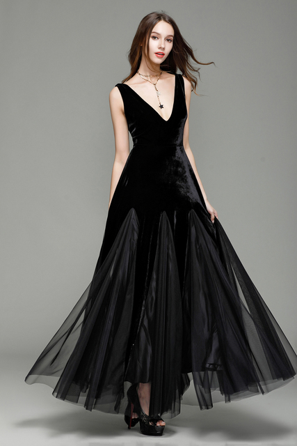 B0007 New Black Tulle V Neck Formal Wedding Prom Women Sleeveless Ball Gown Maxi