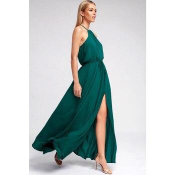 2ef09671010 De las mujeres sin mangas hombro fiesta de noche de cuello Halter Bohe Sexy  de Split Maxi Bodycon vestidos elegantes