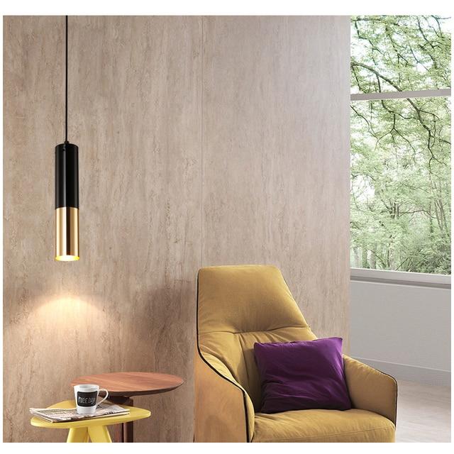 Moderne Anhänger Lichter GU10 LED Lampe Einzigen Esszimmer Bar lampen  Beleuchtung Für wohnzimmer D60mm Aluminium Rohr lampe