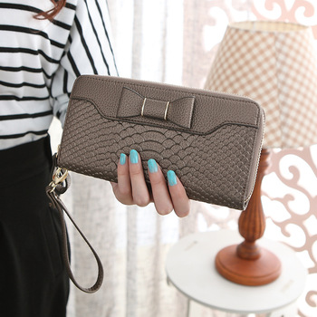 Bow-Decorated Cute Leather Women's Wristlet Bags and Wallets Hot Promotions New Arrivals Women's Wallets Color: bronze