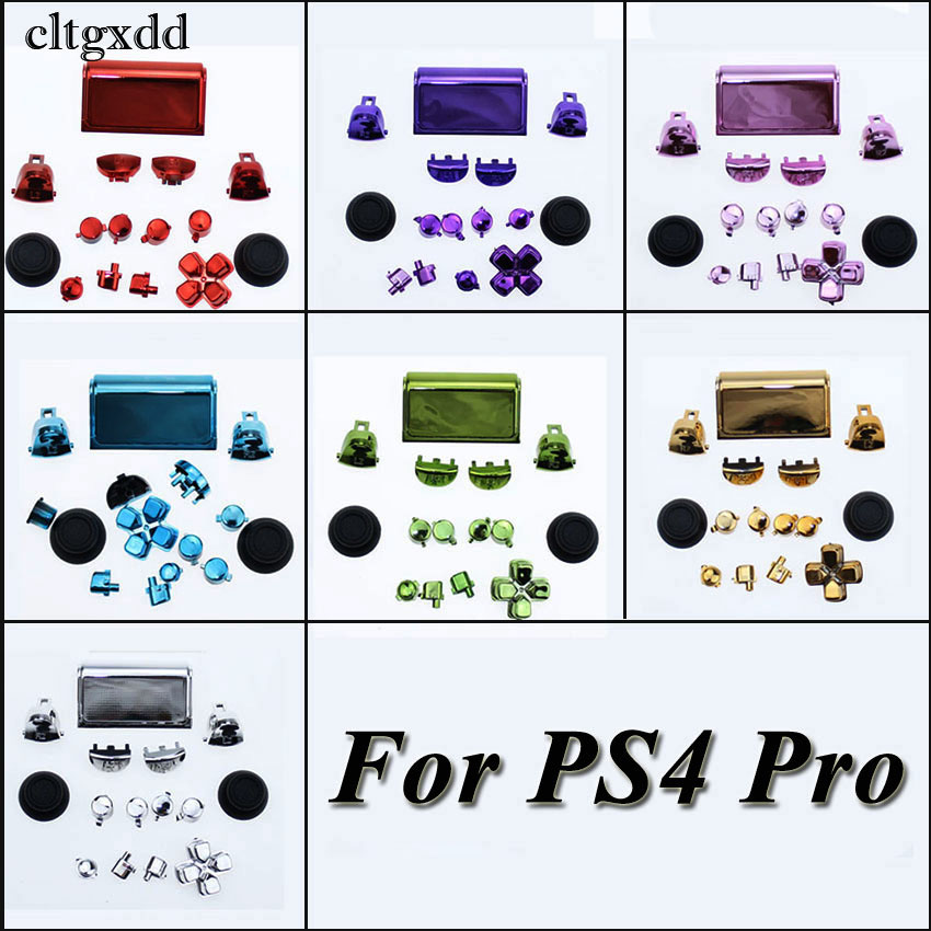 cltgxdd Plated Chrome Dpad R1 L1 R2 L2 Buttons For Sony PS4 Pro JDS 040 JDM 040 Wireless Controller in Replacement Parts Accessories from Consumer Electronics