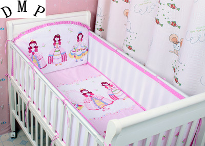 Promotion! 5PCS Mesh Cot Baby Bedding Sets Cotton Cartoon Crib Bed Bumpers Set Cot Set,include(4bumpers+sheet) promotion 6pcs cartoon baby cot sets baby bed bumper kids crib bedding set cartoon include bumpers sheet pillow cover